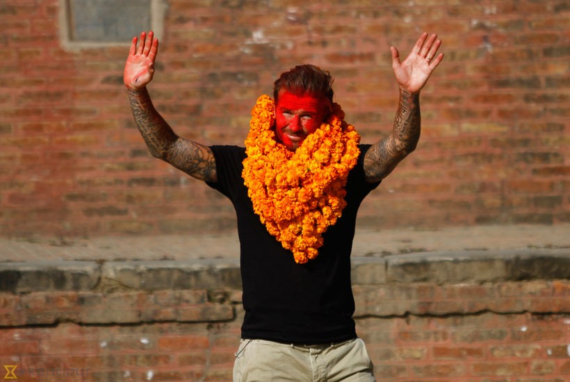 David Beckham waves at fans in Bhaktapur. Photo: Kaushal Adhikari